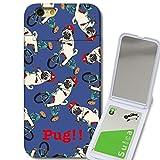 301-sanmaruichi- iPhone6s ケース iPhone6 ケース ミラーケース 鏡付き ミラー付き カード収納 おしゃれ PUG!! パグ ぶさかわいい 犬 NAVY ネイビー プリント 電磁派防止シートつき