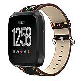 GOSETH for Fitbit Versa レザー 交換 バンド Fitbit Versa leather 本革 ストラップ 柔らか 腕時計 高品質革製ベルト おしゃれ 黒+赤い花
