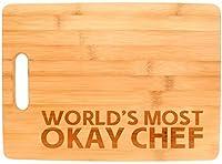 世界の最もOkayシェフ面白いキッチン料理ギャグギフト竹カッティングボード Big Rectangle ベージュ