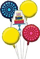 Creative Converting 5Piece誕生日ケーキスタンドメタリックバルーンクラスタ、マルチカラー
