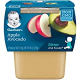 Gerber Purees 2nd Foods Apple Avocado Baby Food Tubs (Pack of 8)