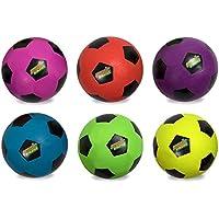 Set of 6異なる色規定サイズネオンSoccer Balls – Includes Bonus Messバッグ。
