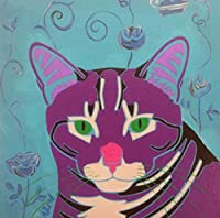 Grey Tabby Tile Coaster Cat Lover Decor Collectible by Angela Bond [並行輸入品]
