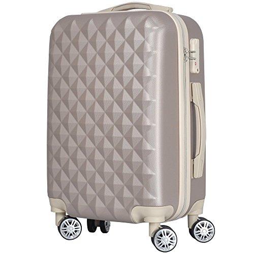 かわいいキルト風ボディのスーツケース BASILO-012 (Mサイズ/4~7泊用, シルバーグレー)