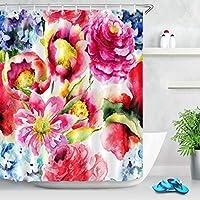 AdaCrazy 水彩牡丹の花の背景パターンのシャワーカーテンセット3Dプリント防水コートポリエステル生地の浴室12フック71インチ180 * 180 cm