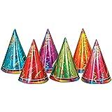 クラブパック72のマルチカラープリズム円錐用紙Party Hats 6.5