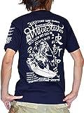 (ジュゲム) Laboratory of JUGEM Tシャツ 半袖 メンズ 波斬御免モデル 和柄 浮世絵 バックプリント (S, ネイビー/ホワイト)