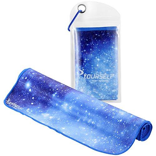 Syourself瞬冷スポーツアイスタオル-- 100 cm x 30 cm、温度を下げ、汗を取り、瞬間に涼しくなるフィットネス、運動、ボーリング、ゴルフ、ヨガ、旅行のスポーツタオル、それと同時に温度を下げるスカーフ、マフラー、ハンカチとして使える+密封防水袋とカラビナ (靑い星空, 100cm x 30cm)
