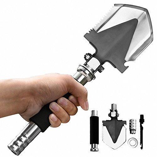 AIER 折り畳みスコップ 多機能スチール 園芸 軍用 アウトドア 万能小型ナイフ 手斧 穴掘り 収納ケース付き