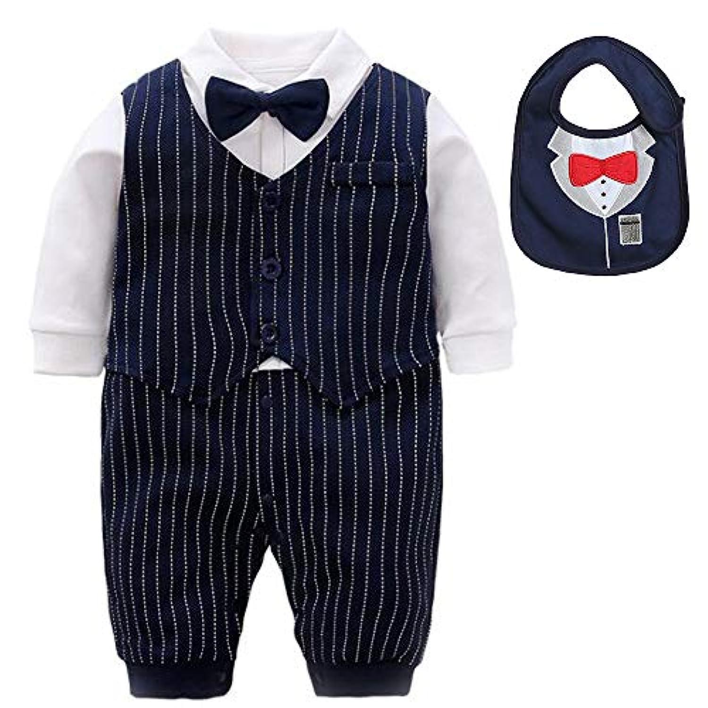 Fengmax 幼児 子供服 紳士 ベビー ロンパース 満月 ベビー服 長袖 き唾液タオル付 (長袖 紳士, 12-18 ヶ月)