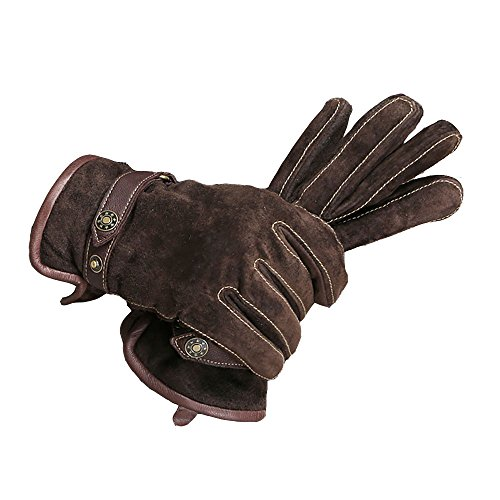 CHULRITA メンズ 豚革 グローブ レザー 本革 防寒 秋冬 スナップボタン付き 通勤 通学 男性用 手袋 ブラウン L