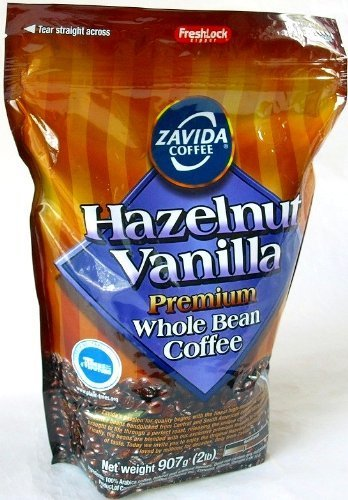 ZAVIDA ザビダ ヘーゼルナッツ バニラホールビーン コーヒー豆 907g×2個 フレーバーコーヒー