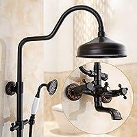 シャワートイレアメリカンレトロ蛇口温かく寒いシャワーバスルームシャワーセットアンティークヨーロッパ、黒