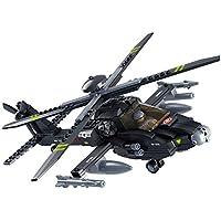 Haiskyレゴと互換性あるおもちゃ、軍隊のブロック陸軍の教育玩具Apache攻撃ヘリコプター軍用模型ビルディングブロックビルディングキットキッズおもちゃ