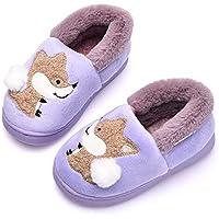 Ainikas Toddler Boys Girls Slippers Fluffy Little Kids House Slippers Warm Fur Cute Animal Home Slipper, Purple 16-17