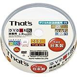 太陽誘電製 That's DVD-Rビデオ用 CPRM対応8倍速215分8.5GB 片面2層ワイドプリンタブル スピンドルケース10枚入 DR-C21WWY10BA