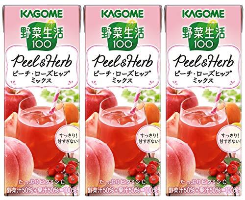 カゴメ 野菜生活100 Peel&Herb ピーチ・ローズヒップミックス 200ml ×3本
