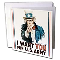 PSヴィンテージ – ヴィンテージUncle Sam I Want You For The Army – グリーティングカード Set of 12 Greeting Cards