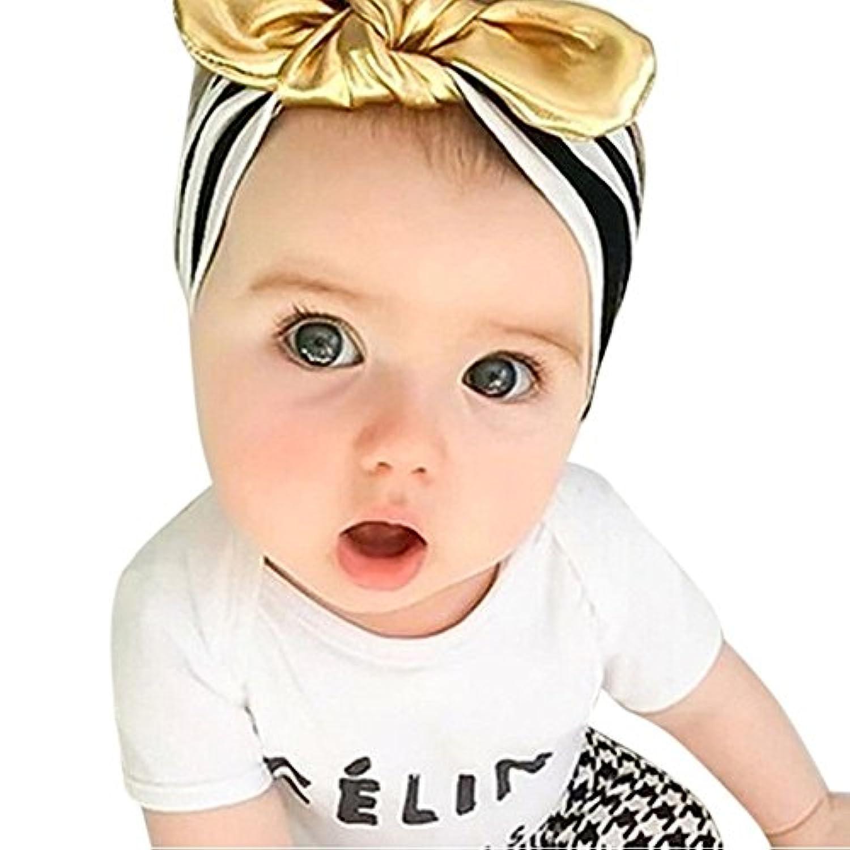 patgoalベビーガールズヘッドバンドブラックストライプゴールドBowヘアバンド幼児子供の