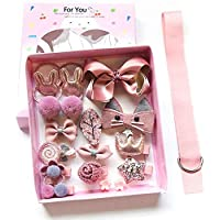 Baby Girl's Hair Clips Cute Hair Bows Baby Elastic Hair Ties Hair Accessories Ponytail Holder Hairpins Set For Baby Girls Teens Toddlers, Assorted styles, 18 pieces Pack (Pink)