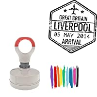 Great Britain Liverpool -11 5 May 2014 Arrival Round Badge Style Pre-Inked Stamp, Red Ink Included
