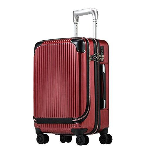 Proevo スーツケース 機内持込 MAX 軽量 小型 フロントオープン 消音ダブルキャスター 8輪 【W-Receipt】 キャリーケース キャリーバッグ 前ポケット (Sサイズ(約36L), スクラッチ/パールワイン)