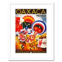 Travel Oaxaca Mexico Aztec Fiesta Carnival Dance Vintage Ad Art Framed Wall Art Print 旅行メキシコカーニバルダンスビンテージ壁