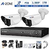 A-ZONE 4ch 1080P DVR AHD ビデオ監視システム&2x HD 130万画素タイプ IP67ナイトビジョン 室内/室外 CCTV ホーム 防犯カメラ(1TB HDD付き)