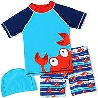 HONISEN Boys Two Piece Rash Guard Swimsuits Kids Short Sleeve Sunsuit Swimwear Sets UPF 50+