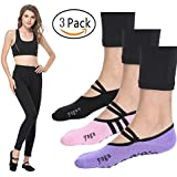 Yoga Grip Socks Barre Workout Non Slip Skid Pilates Ballet Training Socks 3 Pairs