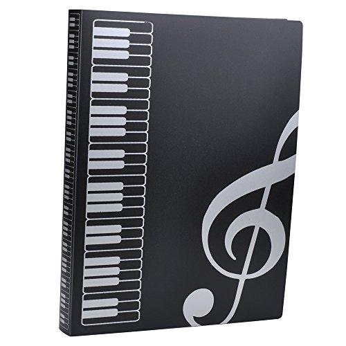 バインダー A4 楽譜ファイル 収納ホルダー プラスチック クリア 高音記号 ブラック