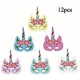 Funkeet 12個 レインボーユニコーンマスク スパークリング 仮面舞踏会 変装マスク 子供 誕生日 ユニコーン ハロウィーンテーマ パーティーの景品