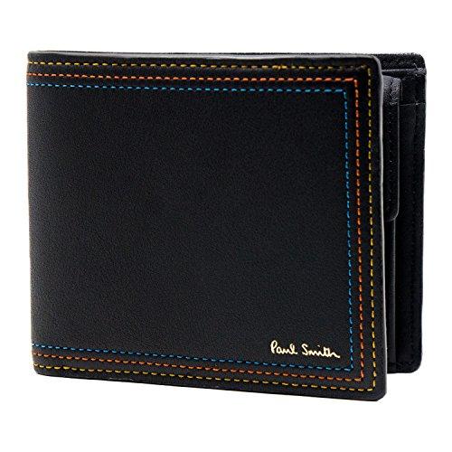 [名入れ可] (ポール・スミス) Paul Smith ストライプステッチ レザー 二つ折り 財布 ポールスミス 本革 フォールド ウォレット
