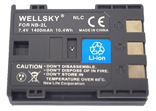 [WELLSKY] Canon キヤノン NB-2L / NB-2LH 互換バッテリー [ 純正充電器で充電可能 残量表示可能 純正品と同じよう使用可能 ] iVIS HF R10 / HF R11 / PowerShot G7 / PowerShot G9 / PowerShot S30 / PowerShot S40 / PowerShot S45 / イオス EOS 350D / EOS 400D / EOS Digital N / EOS Kiss Digital N / EOS Digital Rebel XT / PowerShot S50 / PowerShot S60 / PowerShot S70 / PowerShot S80
