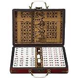 ポータブルレトロ麻雀ボックスレア中国語144タイル麻雀セット面白い党のボードゲームのおもちゃ