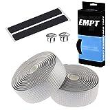 EMPT(イーエムピーティー) カーボン調ロード用 バーテープ ES-JHT020 EMPT クッション製に優れたEVA製カーボン調加工 バーテープ ロード ピスト ドロップハンドルバーテープ ※エンドキャップ、エンドテープ付属(カーボン調銀(シルバー))