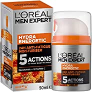 L'Oréal Paris Men Expert Hydra Energetic Moisturiser, for Dry and Tired Skin, with Guarana and Vitamin C,