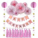 誕生日飾り付けセット SUNBEAUTY 特大 ペーパーファン ハニカムボール タッセル スターガーランド 一歳 2歳 30歳 50歳 バースデー デコレーション (ピンク系)