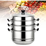 KINGSO Stainless Steel Steamer and Steam Pot Set 4 Tier 32cm - with Lid and Pots