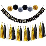 loloajoy CongratulationsバナーSign for Graduation Party Supplies Decoration Kit withゴールドとブラックタッセルガーランド紙ポンポン