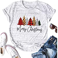 JINTING Merry Christmas Tree Leopard T-Shirt Tops for Women's Short Sleeve Funny Christmas Graphic Tee Tshirts Tops with Sayings