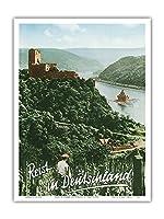 ドイツへの旅 - Fuerstenberg城跡 - ライン渓谷 - ビンテージな世界旅行のポスター によって作成された F.クラッツ c.1950s - アートポスター - 23cm x 31cm