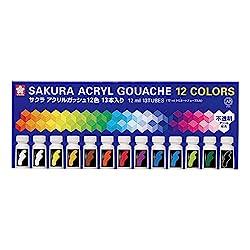 サクラクレパス 絵の具 アクリルガッシュ 12色13本 AGW13