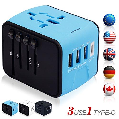 海外旅行充電器 変換アダプタ マルチ変換プラグ 充電用USBポートType-Cポート付き充電器 出張便利 持ち運びやすい 急速充電 ヨーロッパ/アメリカ/イギリス/オーストラリア等世界200ヶ国以上対応 (青)