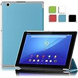 KuGi Sony Xperia Z4 Tablet ケース 薄型 軽量型 マグネット開閉式 専用 カバー docomo Xperia Z4 Tablet SO-05G 対応 ブルー