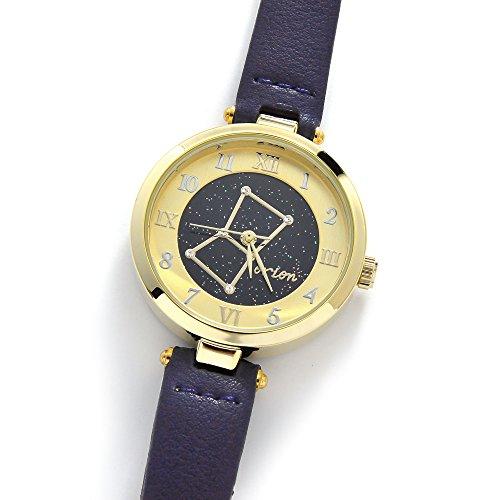 腕時計 ウォッチ レディース フェイクレザー 星座 星空 夜空 惑星 プラネット キラキラ ラインストーン【ネイビー(オリオン座)】