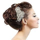 【クークーファッション】Q&Q Fashion シルバー クリスタル ダイヤモンドの風 葉 羽 フェザー ヘアピン かんざし 簪 コーム ドレス ヘアクリップ パーティー 和装 結婚式