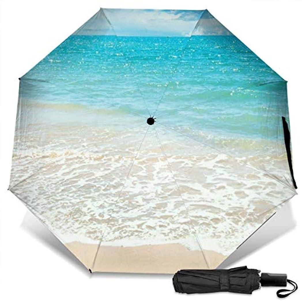 キャベツサミュエルネットサマービーチブルーシーサンシャイン折りたたみ傘 軽量 手動三つ折り傘 日傘 耐風撥水 晴雨兼用 遮光遮熱 紫外線対策 携帯用かさ 出張旅行通勤 女性と男性用 (黒ゴム)