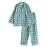 【ノーブランド品】 綿100% 冬 長袖 ボーイズ パジャマ ネル 起毛 素材 国旗 チェック 柄 100サイズ グリーン