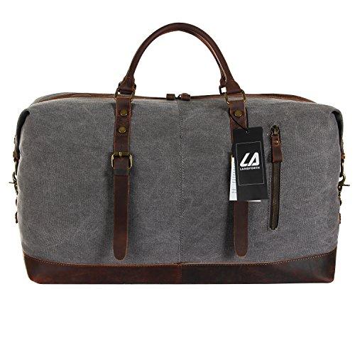 [Lifewit ] ボストンバッグ メンズ ダッフルバッグ 出張 3Way ショルダーバッグ トラベルバッグ 大容量 キャンバス+レザー 2~3泊程度 旅行 バッグ男女兼用(グレー)